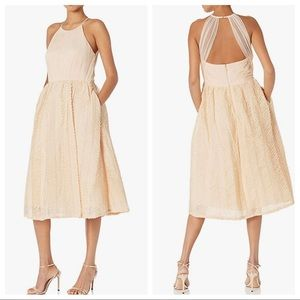 Champagne Tulle Halter Tea Dress with Pockets